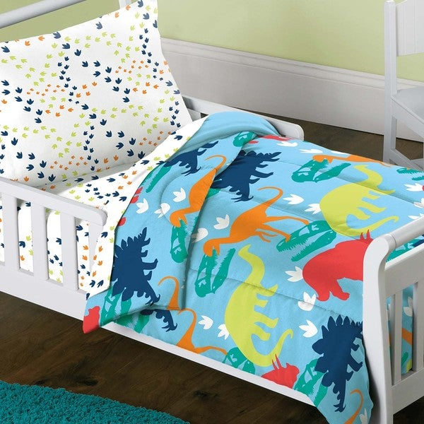 Dream Factory Dinosaur Prints 4 Piece Toddler Bedding Set