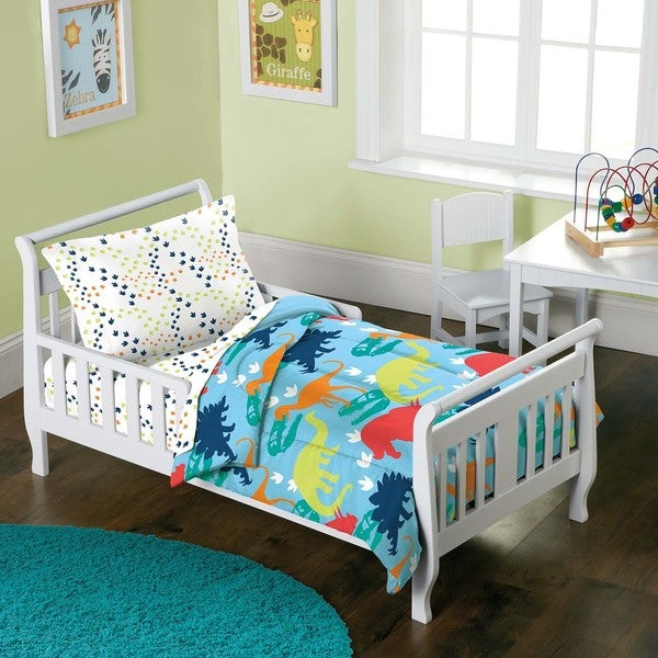 a17d70cd1b266 Shop Dream Factory Dinosaur Prints 4-piece Toddler Comforter Set ...
