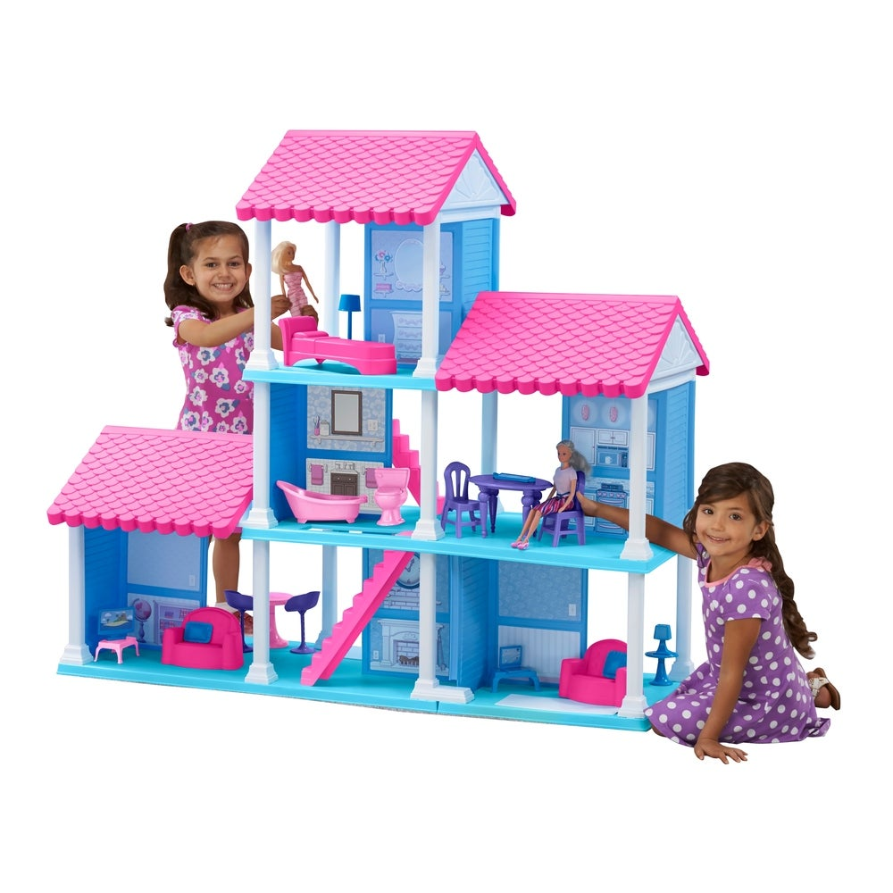 American Plastic Toys Delightful Dollhouse with 25 Accessories
