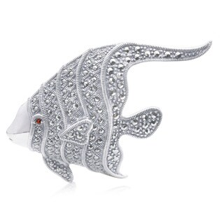 Blue Box Jewels Marcasite Red-eye Fish Shaped Brooch