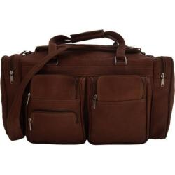 Piel Leather Chocolate 20-inch Carry On Duffel Bag With Pockets