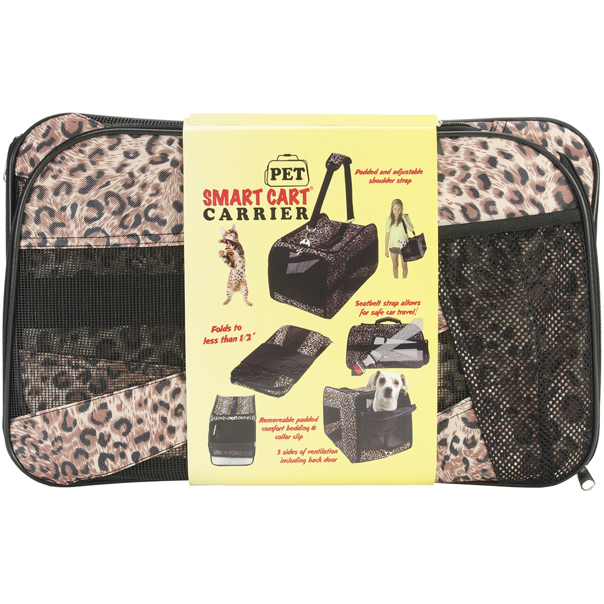 "dbEST Pet Smart Cart Carrier -Large 22""X4""X12""-Cheetah (C..."