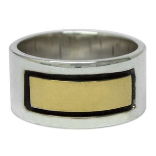 Handmade Men's Gold Overlay Sterling Silver 'Structures' Band Ring (Mexico)