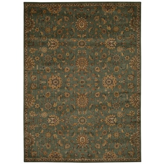 kathy ireland Ancient Times Ancient Treasures Teal Area Rug by Nourison (5'3 x 7'5)