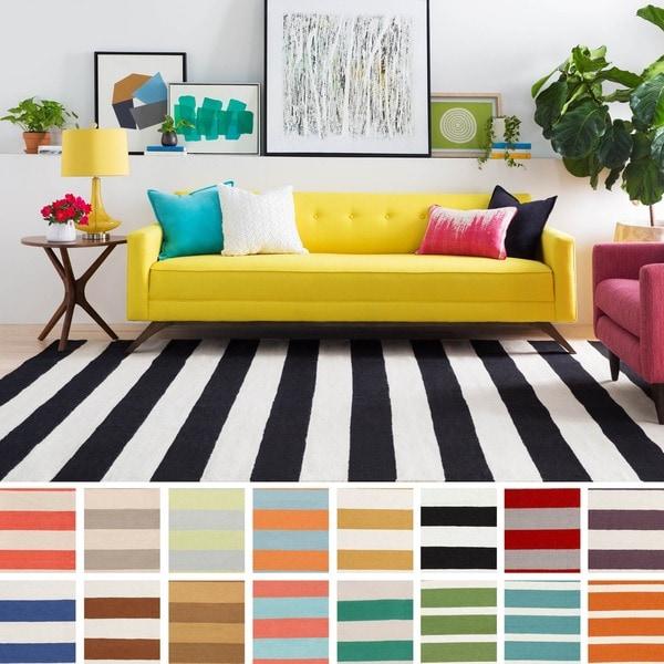 Melun Flatweave 100-percent Wool Striped Area Rug - 5' x 8'