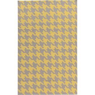 Herblain Flatweave Houndstooth Area Rug - 8' x 11' (Option: Gold)