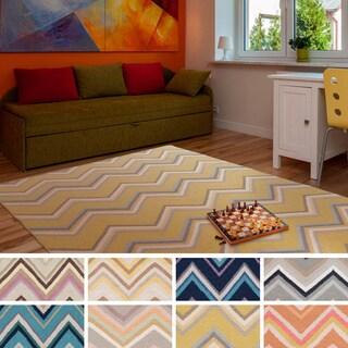 Alena Flatweave Chevron Wool Area Rug (5' x 8')