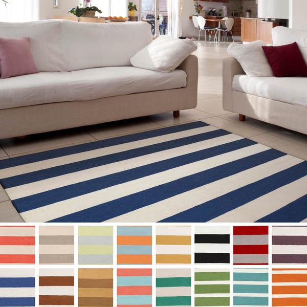 Lancaster Flatweave Striped Area Rug  3 6 x 5 6. Melun Flatweave 100 percent Wool Striped Area Rug  5  x 8     Free
