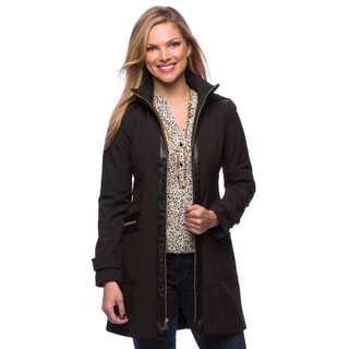 Via Spiga Women's Black Fleece-lined Soft Shell Coat