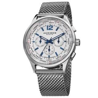 Akribos XXIV Men's Chronograph Mesh Stainless Steel Silver-Tone Strap Bracelet Watch