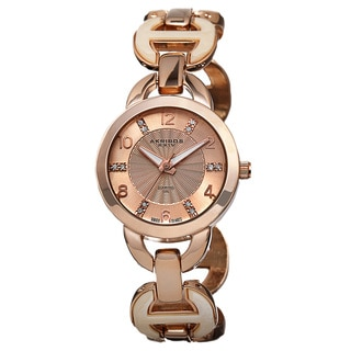 Akribos XXIV Women's Diamond-Accented Swiss Quartz Rose-Tone Bracelet Watch