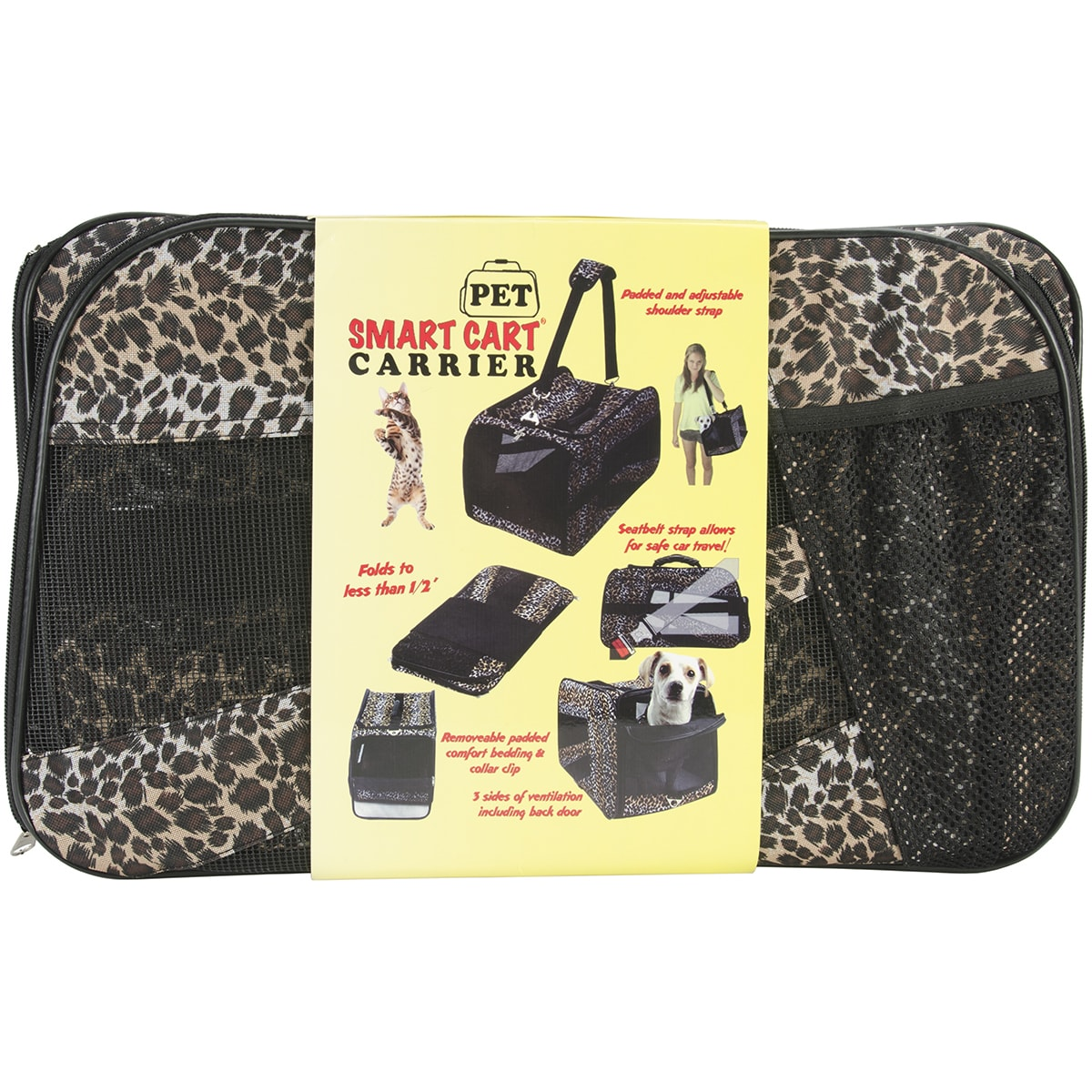 "dbEST Pet Smart Cart Carrier -Medium 20""X4""X11""-Leopard (..."