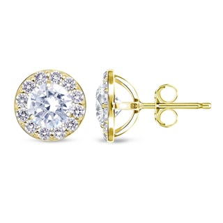 Auriya 14k Yellow Gold 1/2ct to 2ct TDW Round Diamond Halo Stud Earrings
