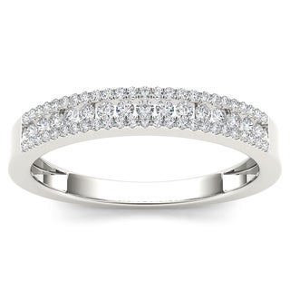 De Couer 10k White Gold 1/4ct TDW Diamond Wedding Band