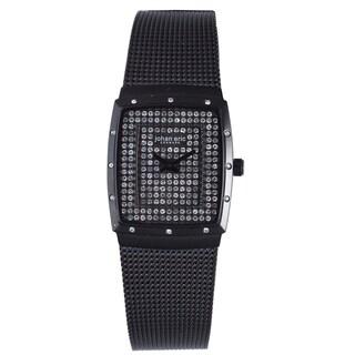 Johan Eric Women's Tondor Black Stainless Steel and Austrian Crystal Watch