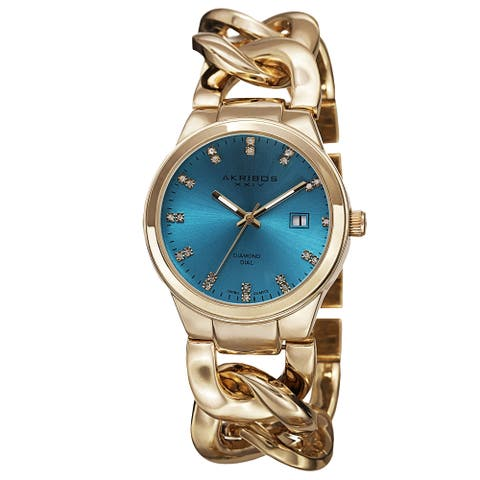 Akribos XXIV Women's Swiss Quartz Diamond-Accented Chain Link Gold-Tone Bracelet Watch