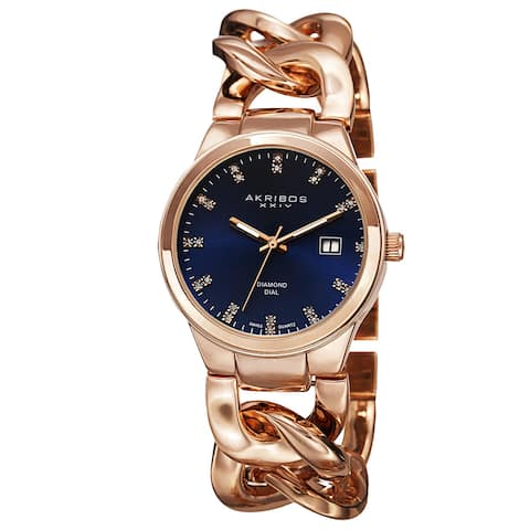 Akribos XXIV Women's Swiss Quartz Diamond-Accented Chain Link Rose-Tone Bracelet Watch