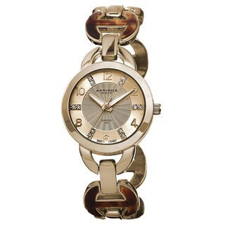 Akribos XXIV Women's Diamond-Accented Swiss Quartz Gold-Tone Bracelet Watch