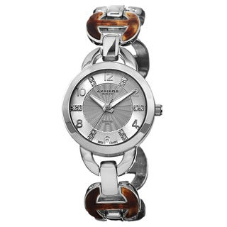 Akribos XXIV Women's Diamond-Accented Swiss Quartz Silver-Tone Bracelet Watch