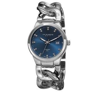 Akribos XXIV Women's Swiss Quartz Diamond-Accented Chain Link Silver-Tone Bracelet Watch