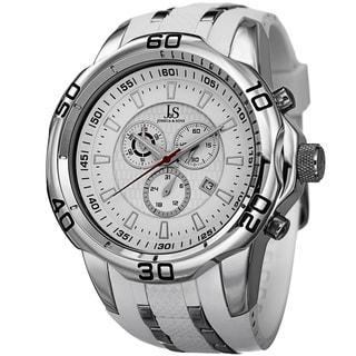 Joshua & Sons Men's Bold Swiss Quartz Chronograph Date White Strap Watch
