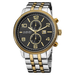 August Steiner Men's Swiss Quartz Coin Edge Bezel Two-Tone Bracelet Watch