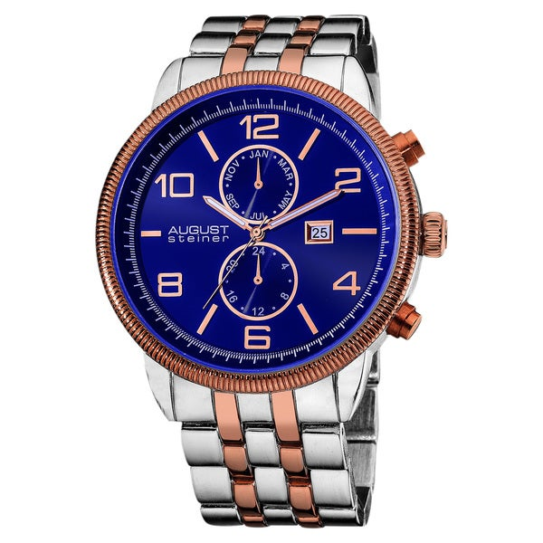 August steiner men 39 s swiss quartz coin edge bezel blue bracelet watch free shipping today for Men decagonal bezel bracelet