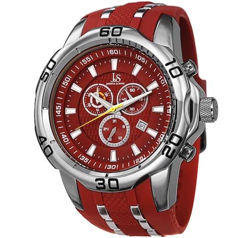Joshua & Sons Men's Bold Swiss Quartz Chronograph Date Red Strap Watch