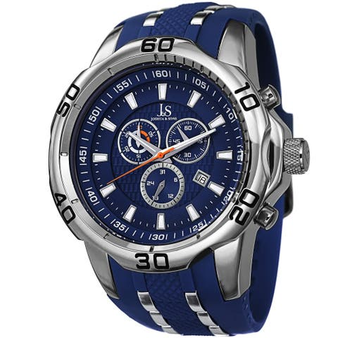 Joshua & Sons Men's Bold Swiss Quartz Chronograph Date Blue Strap Watch