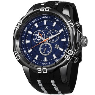 Joshua & Sons Men's Bold Swiss Quartz Chronograph Date Black Strap Watch