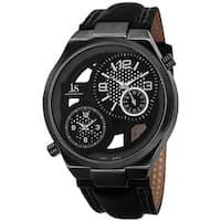 Joshua & Sons Men's Swiss Quartz Dual Time Leather Strap Watch