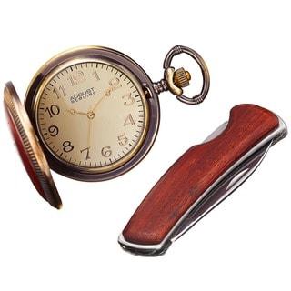 August Steiner Men's Quartz Pocket Watch & Pocket Knife