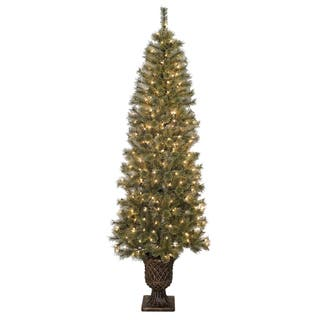 pre lit artificial christmas tree with urn base