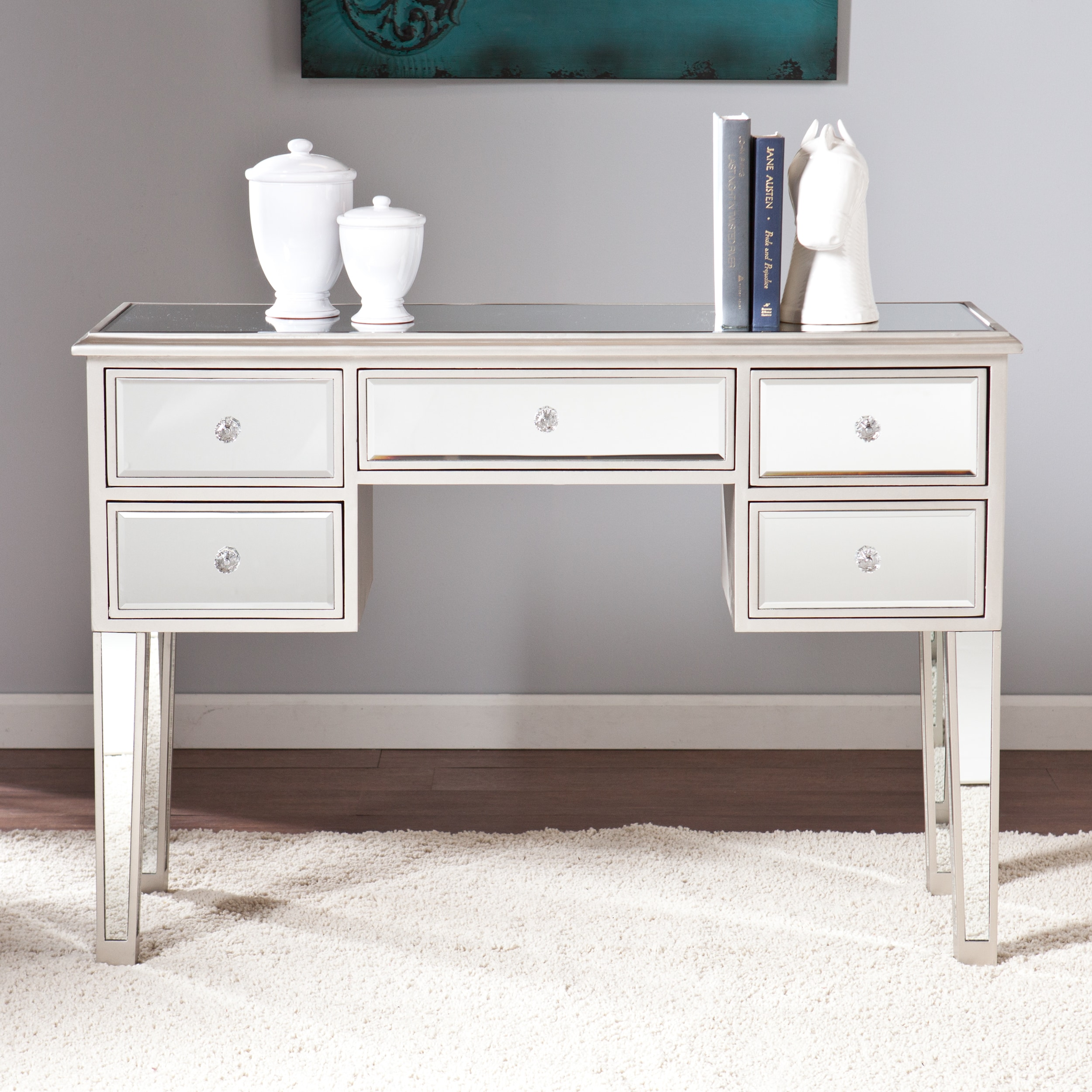 Silver Orchid Olivia Mirrored Console Table