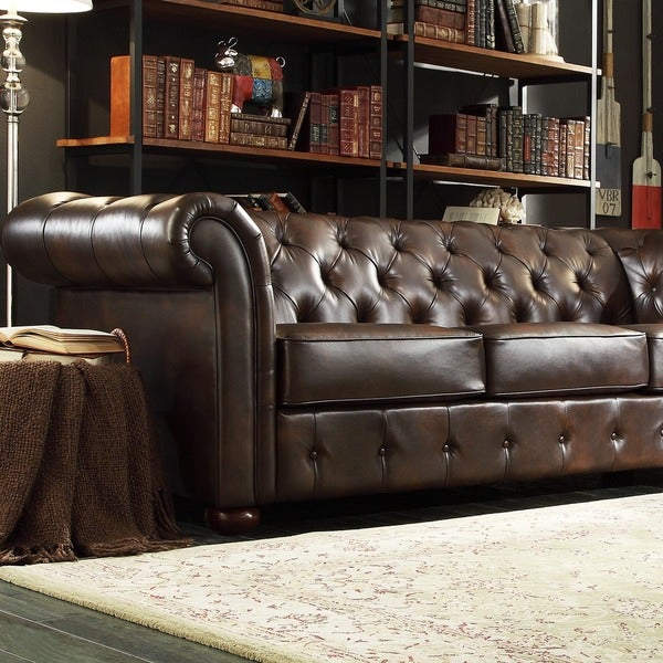 Knightsbridge Brown Bonded Leather Tufted Scroll Arm Chesterfield Sofa By Inspire Q