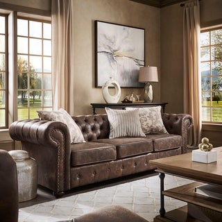 SIGNAL HILLS Knightsbridge Brown Bonded Leather Tufted Scroll Arm Chesterfield Sofa