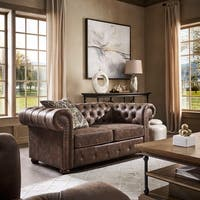 Knightsbridge Brown Bonded Leather Tufted Scroll Arm Chesterfield Loveseat by iNSPIRE Q Artisan