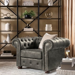 Knightsbridge Brown Bonded Leather Tufted Scroll Arm Chesterfield Chair by iNSPIRE Q Artisan