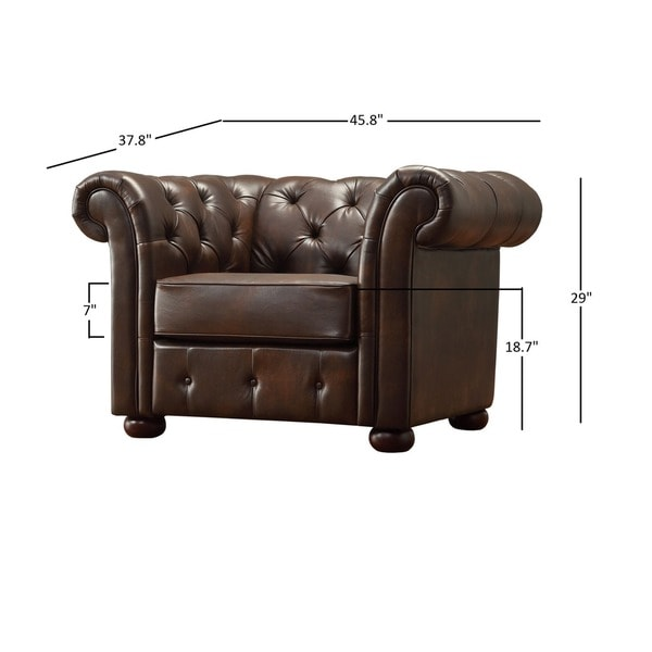 Knightsbridge Brown Bonded Leather Tufted Scroll Arm Chesterfield Chair by iNSPIRE Q Artisan - Free Shipping Today - Overstock.com - 16678144  sc 1 st  Overstock.com & Knightsbridge Brown Bonded Leather Tufted Scroll Arm Chesterfield ... islam-shia.org