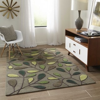 Saronic Autumn Green Hand-Tufted Wool Rug (5' x 8')