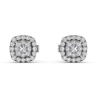 De Couer 10k White Gold 1/4ct Diamond Halo Stud Earrings (H-I, I2)