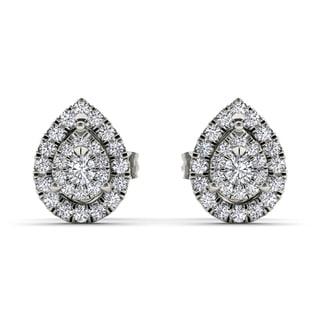 De Couer 10k White Gold 1/4ct Diamond Pear Shape Stud Earrings (H-I, I2)