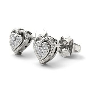 De Couer 10k White Gold 1/10ct Diamond Heart Shape Earrings (H-I, I2)