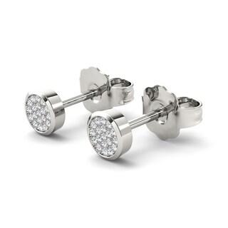 De Couer 10k White Gold 1/10ct Diamond Pave Stud Earrings (H-I, I2)