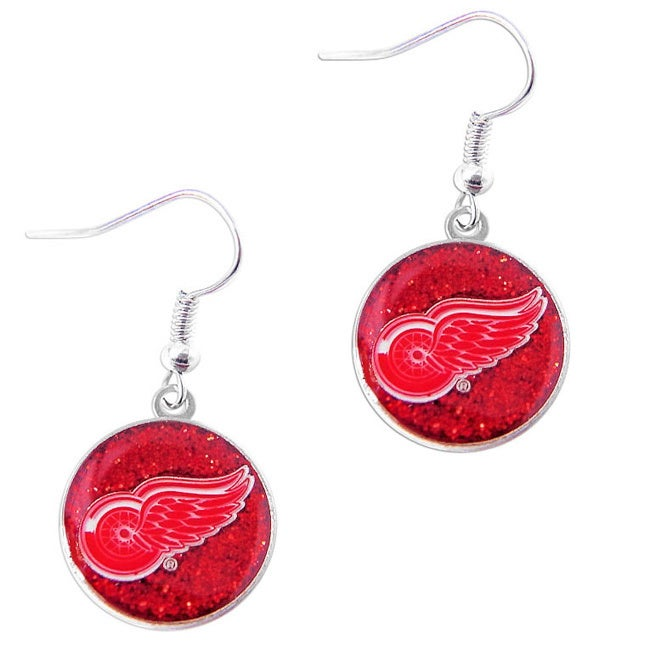 Aminco Usa NHL Detroit Red Wings Glitter Dangle Earring C...