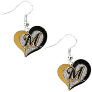 MLB Milwaukee Brewers Swirl Heart Earring Charm Gift Set