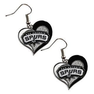 NBA San Antonio Spurs Swirl Heart Earring Charm Gift Set
