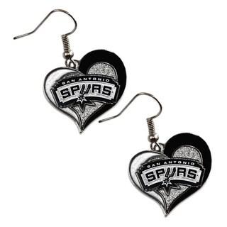 NBA San Antonio Spurs Swirl Heart Earring Charm Gift Set
