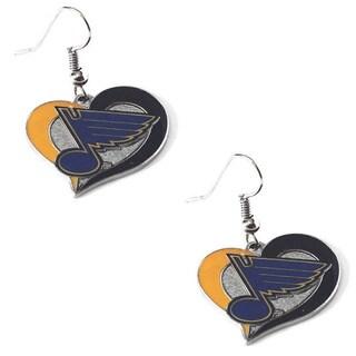 NHL St Louis Blues Swirl Heart Earring Charm Gift Set