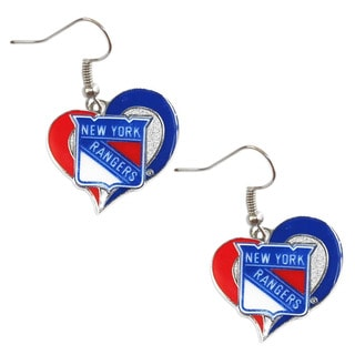 NHL New York Rangers Swirl Heart Earring Charm Gift Set